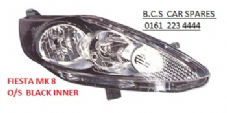 FORD FIESTA MK 7 HEADLIGHT / LAMP  2008+   DRIVERS  SIDE  O/S    ( BLACK TYPE )